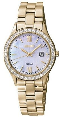 Seiko Women's SUT076 Solar-Power Gold-Tone Stainless Steel Watch $295 thestylecure.com
