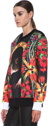 Givenchy Patchwork Madonna Flower Print Poly-Blend Sweatshirt in Multi