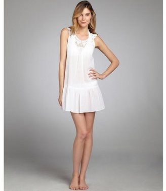 Shoshanna white crinkle cotton crochet neck coverup dress
