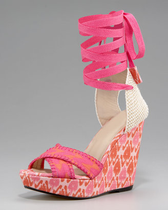 Theodora & Callum Patterned Linen Lace-Up Wedge, Pink