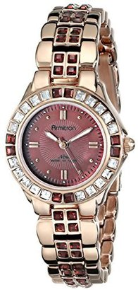 Armitron Women's 75/3689WMRG Swarovski Crystal-Accented Rose Gold-Tone Bracelet Watch $85 thestylecure.com