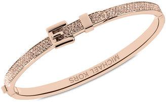 Michael Kors Bracelet, Rose Gold-Tone Steel Pave Buckle Bangle Bracelet
