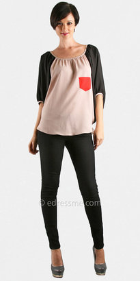 Va Va Taupe Blouse Casual Tops By Vava