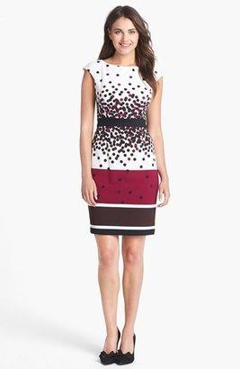 Maggy London Mix Print Ponte Knit Sheath Dress