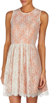 Erin Fetherston Fit-And-Flare Metallic Lace Dress, Canteloupe