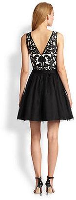 Aidan Mattox Laser-Cut Lace & Tulle Dress