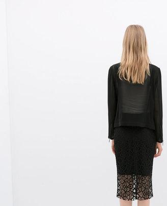 Zara Guipure Lace Pencil Skirt