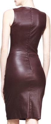 The Row Stretch Leather Sheath Dress, Mahogany