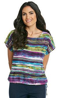 Ruby Rd.® Scoopneck Allover Stripe Print Shirt