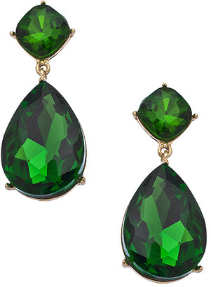 Blu Bijoux Emerald Crystal Teardrop Statement Earrings