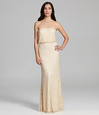 Adrianna Papell Beaded Blouson-Bodice Gown