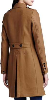 Burberry Button-Vent Double-Breasted Car Coat, Dark Camel
