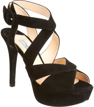 Prada Crisscross Effect Platform Sandal