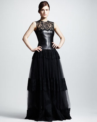 Valentino Leather & Lace Gown