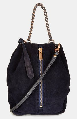 Topshop 'New Woven' Box Chain Suede Bag