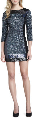 French Connection Fitted Sequin-Panel Dress