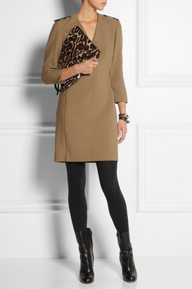 Burberry Leather-trimmed crepe dress