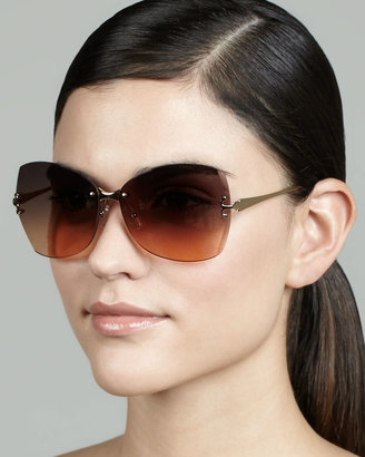 Tory Burch T-Temple Butterfly Sunglasses, Gold/Orange