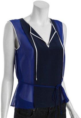 BCBGMAXAZRIA royal blue silk 'Lula' tie neck sleeveless blouse