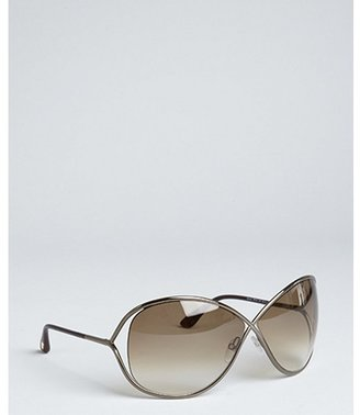 Tom Ford shiny bronze 'Miranda' oversized sunglasses