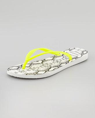 Havaianas Slim Python-Print Flip-Flop, Yellow/