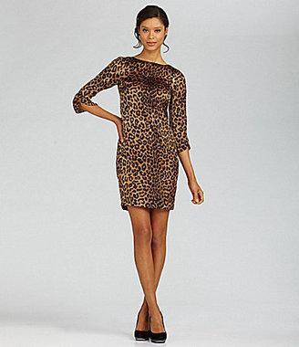Jones New York Collection Woman Leopard-Print Zip-Shoulder Dress