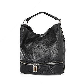 River Island Womens Black zip bottom slouch handbag
