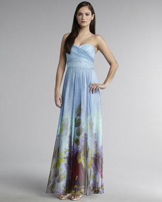 Aidan Mattox Strapless Floral-Print Gown