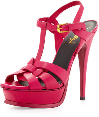 Saint Laurent Tribute High-Heel Leather Sandal, Fuchsia