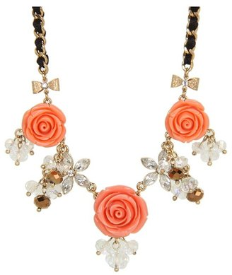 Betsey Johnson Resin Flower 3-Flower Frontal Necklace (Pink) - Jewelry