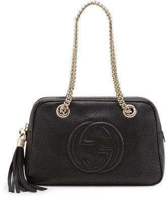 Gucci Soho Leather Double-Chain-Strap Shoulder Bag, Black