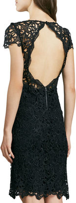 Alice + Olivia Clover Lace Open-Back Dress
