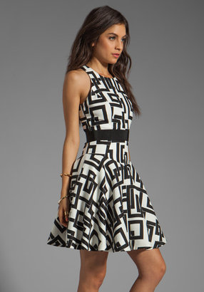 Milly Rectangles Print on Silk Linen and Silk GGT Circle Dress