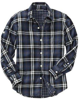 Gap Double-weave convertible plaid shirt