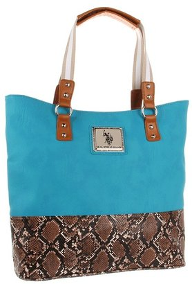U.S. Polo Assn. Instinct Tote (Turquoise/Python) - Bags and Luggage