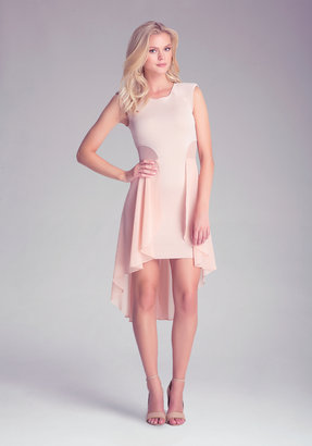 Bebe Mesh Hi-Lo Ruffle Dress