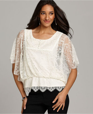 Style&Co. Top, Short-Sleeve Lace Blouson