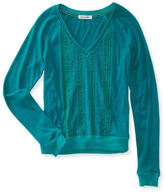 Aeropostale Sheer Lace-Panel Sweatshirt