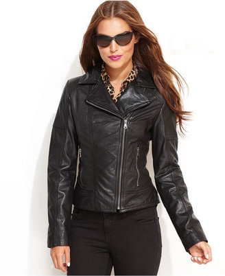GUESS Jacket, Leather Motorcycle