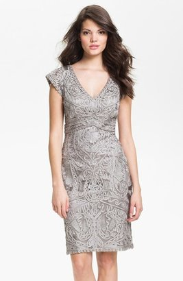 Sue Wong Embroidered V-Neck Sheath Dress