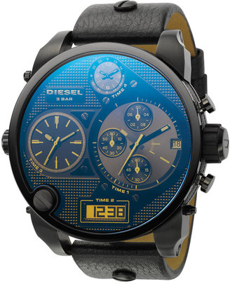 Diesel Watch, Analog Digital Chronograph Black Leather Strap 65x57mm DZ7127