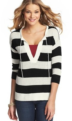 LOFT Stripe Tie Neck Linen Cotton Tunic