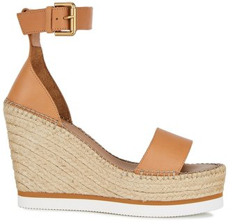 See by Chloe 120 Brown Leather Espadrille Sandals