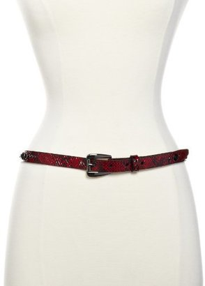 GUESS Women's Snake Leather Belt with Rhinestones