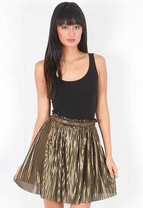 Torn By Ronny Kobo Tancey Mini Skirt in Metallic Gold
