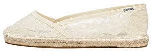 Soludos Lace Espadrille Ballerina Flat, White