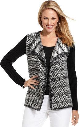 Charter Club Sweater, Long-Sleeve Colorblocked Tweed Cardigan