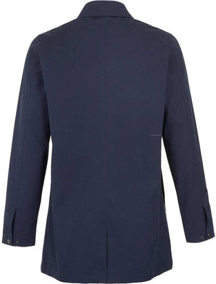 Topman Blue Single Breasted Zip Trench Coat
