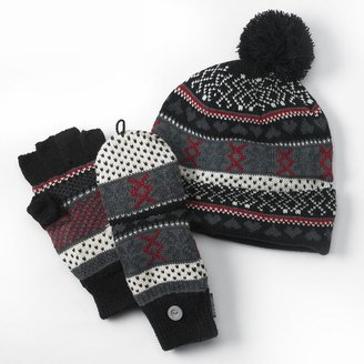 Muk Luks pom-pom hat & convertible flip-top mittens set