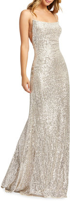 Mac Duggal Sequin Corset-Back Sleeveless Column Gown